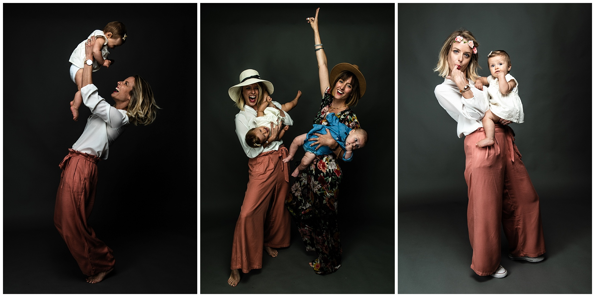 Deux bébés et leurs mamans au studio à Tours